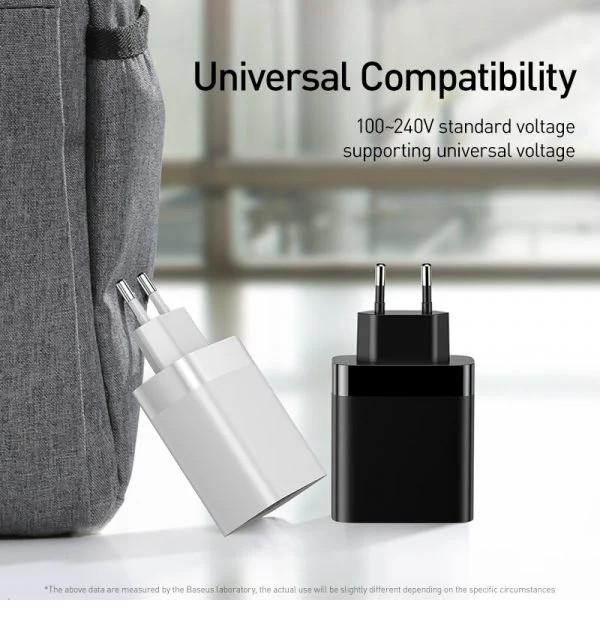 Cóc củ sạc nhanh 30W 4cổng USB hiệu Baseus Mirror Lake cho điện thoại / máy tính bảng iPhone iPad Samsung Huawei Oppo Xiaomi Vivo(sạc nhanh QC 3.0 &2.4A / Port USB, Max 6A, LED display) - Hàng nhập khẩu