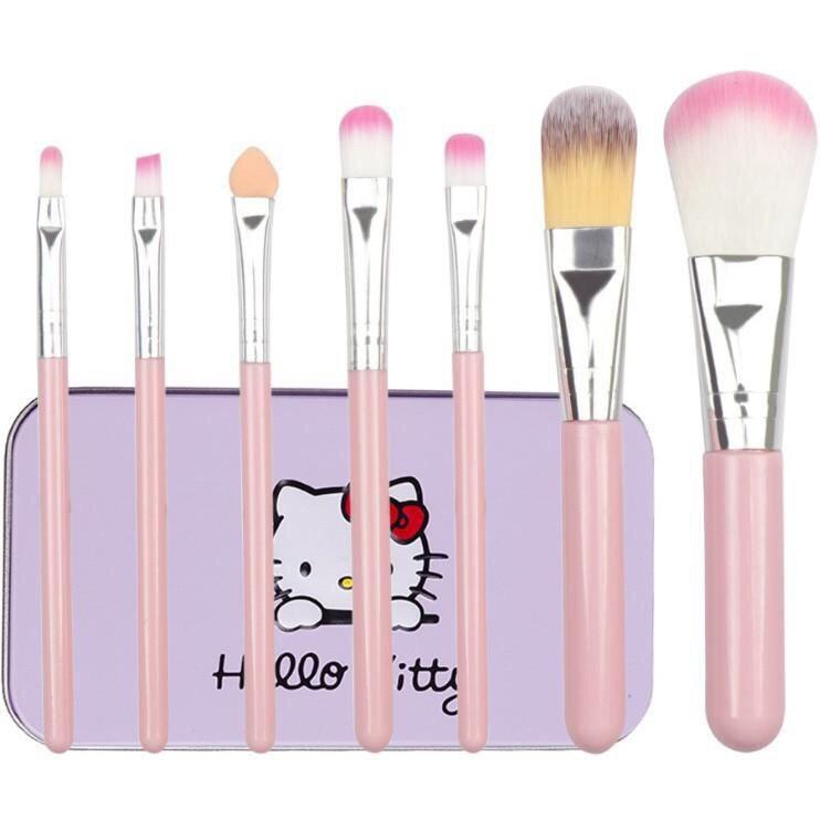 Set Cọ Trang Điểm 7 Cây kèm hộp màu hồng Hello Kitty Mini Brush Kit tặng gương trang điểm mini dễ thương tiện dụng (Hình thật thực tế sp)