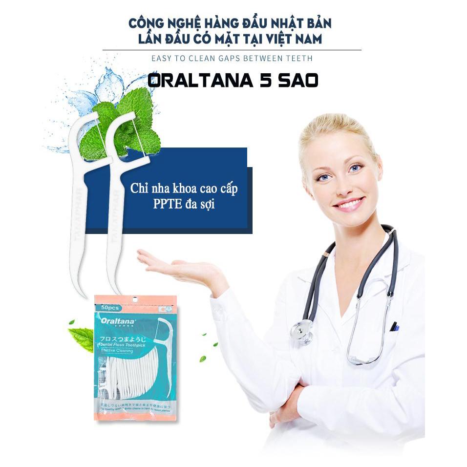 Combo 5 túi tăm chỉ nha khoa Oraltana 5 sao loại bỏ thức ăn khỏi phần kẽ răng chật nhất, sản xuất theo tiêu chuẩn quốc tế (Túi 50 cái x 50)