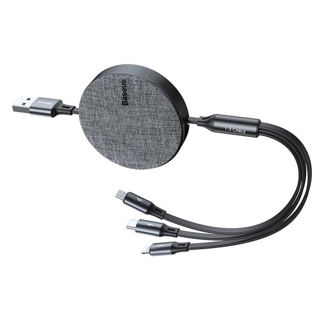 Dây cáp sạc dây rút 3 đầu lightning / Type-C / MicroUSB hỗ trợ sạc nhanh hiệu Baseus Fabric bề mặt phủ nhung (sạc nhanh 3.5A, sạc cùng lúc 3 thiết bị, dây cáp thu gọn, chip sạc thông minh) - Hàng chính hãng