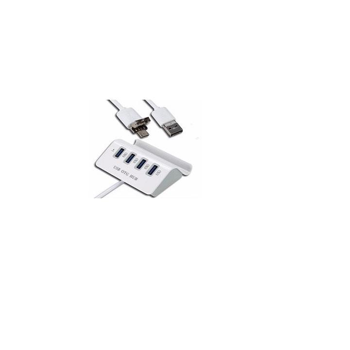 Bộ chia 4 Cổng USB OTG HUB với Dock AZONE cho điện thoại thông minh & Máy Tính