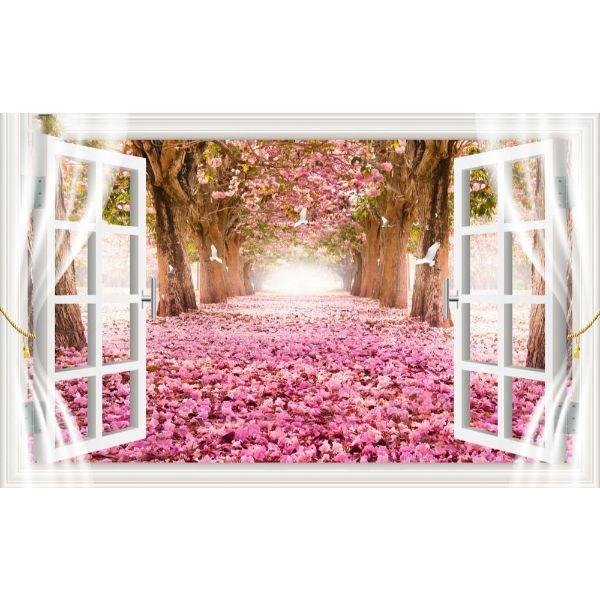 Tranh dán tường cửa sổ 3D | Tranh trang trí cửa sổ 3D | Tranh đẹp cửa sổ 3D | Tranh 3D cửa sổ đặc sắc | T3DMN T6 3D-083