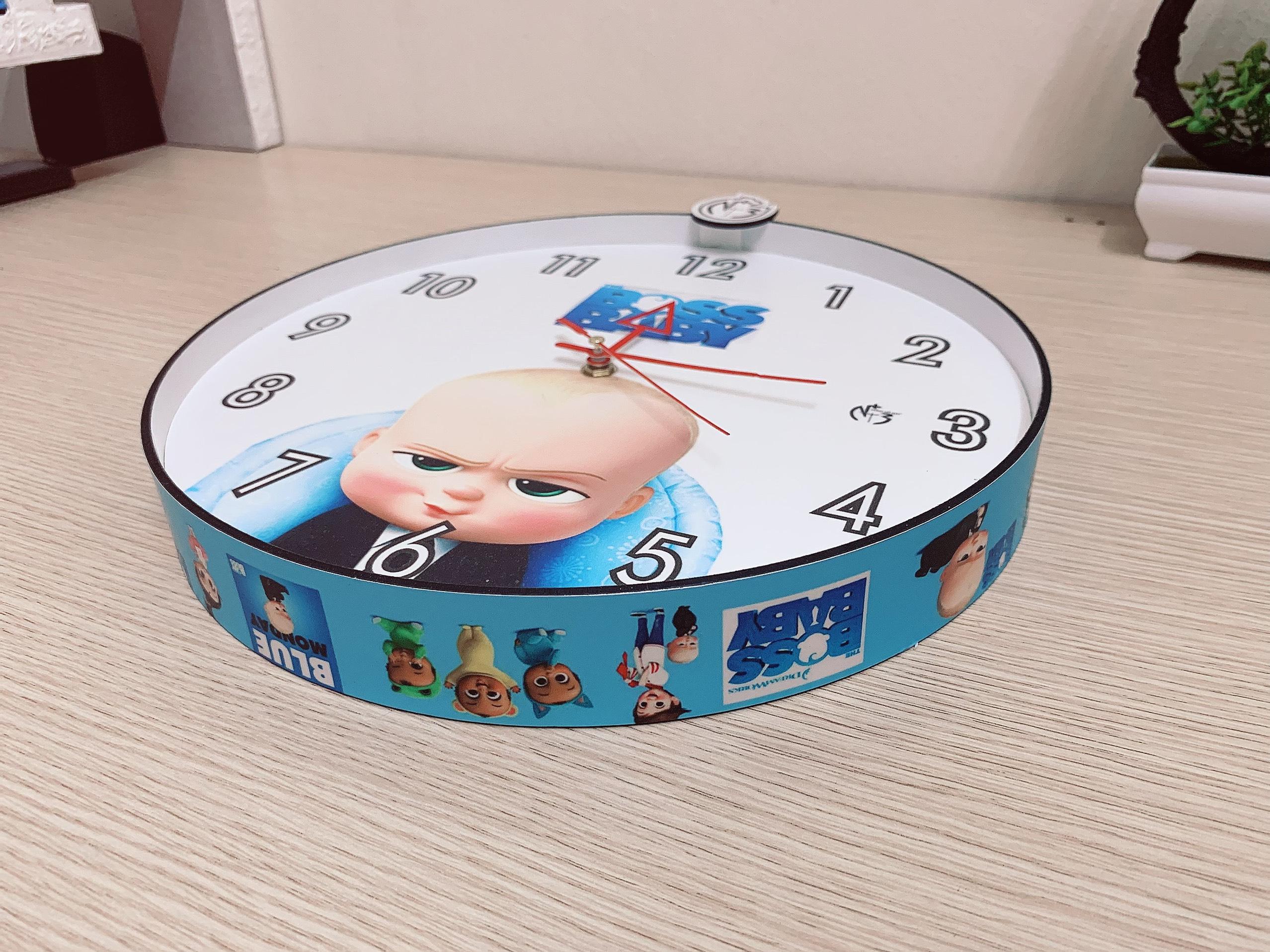 Đồng hồ trang trí treo tường độc đáo BOSS BABY, kim trôi, không gây tiếng ồn, sản xuất thủ công