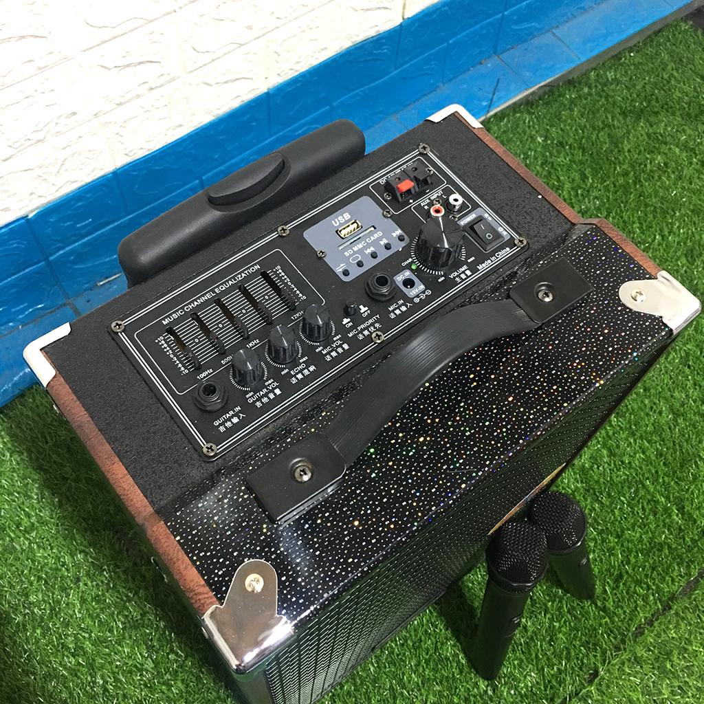 Loa Kéo Karaoke, Loa Karaoke Di Động, Loa Karaoke Gia Đình TEMEISHENG Q10S Thùng Gỗ, Bass 2,5 Tấc, Tặng Kèm 2 Micro Không Dây, Hát Cực Hay-4088- Hàng Nhập Khẩu