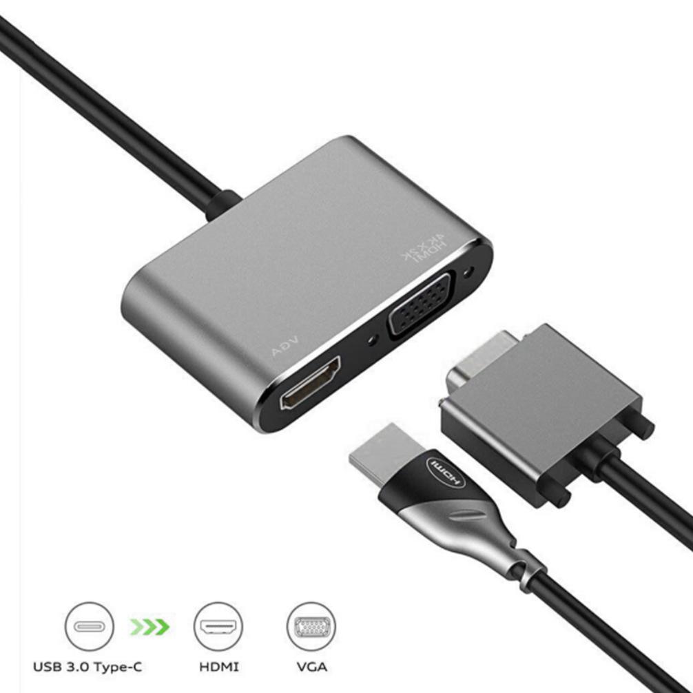 Bộ Chuyển Đổi Sang HDMI 4k USB C VGA, USB 3.1 Type C Sang VGA HDMI nhỏ gọn tiện lợi - Hàng chính hãng