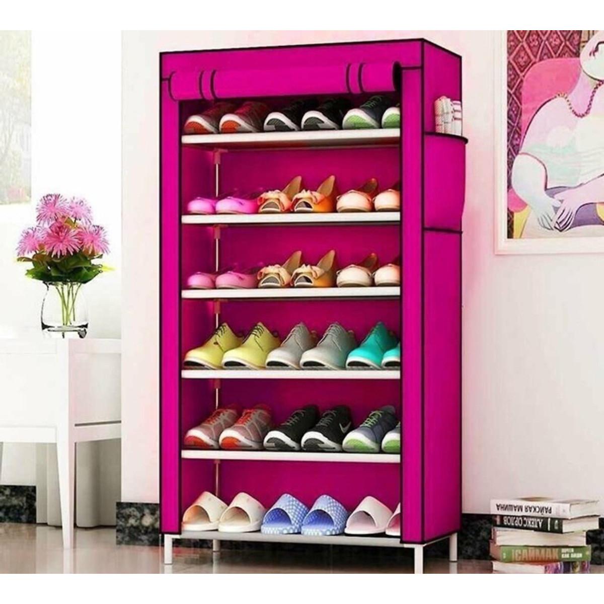 Tủ vải đựng giày có 6 ngăn tiện lợi, nhỏ gọn, thích hợp trang trí ở nhiều không gian