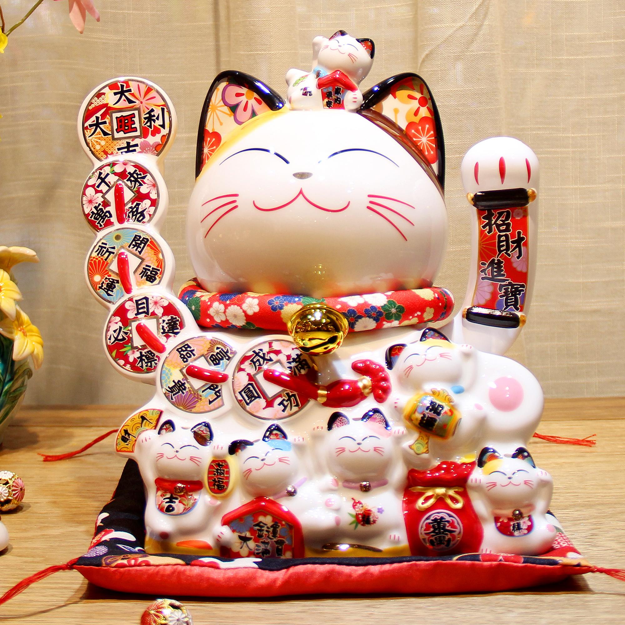 """Mèo Thần tài Vẫy tay Mã 9/6 """"Đại Cát Đại Lợi"""" 30cm"""
