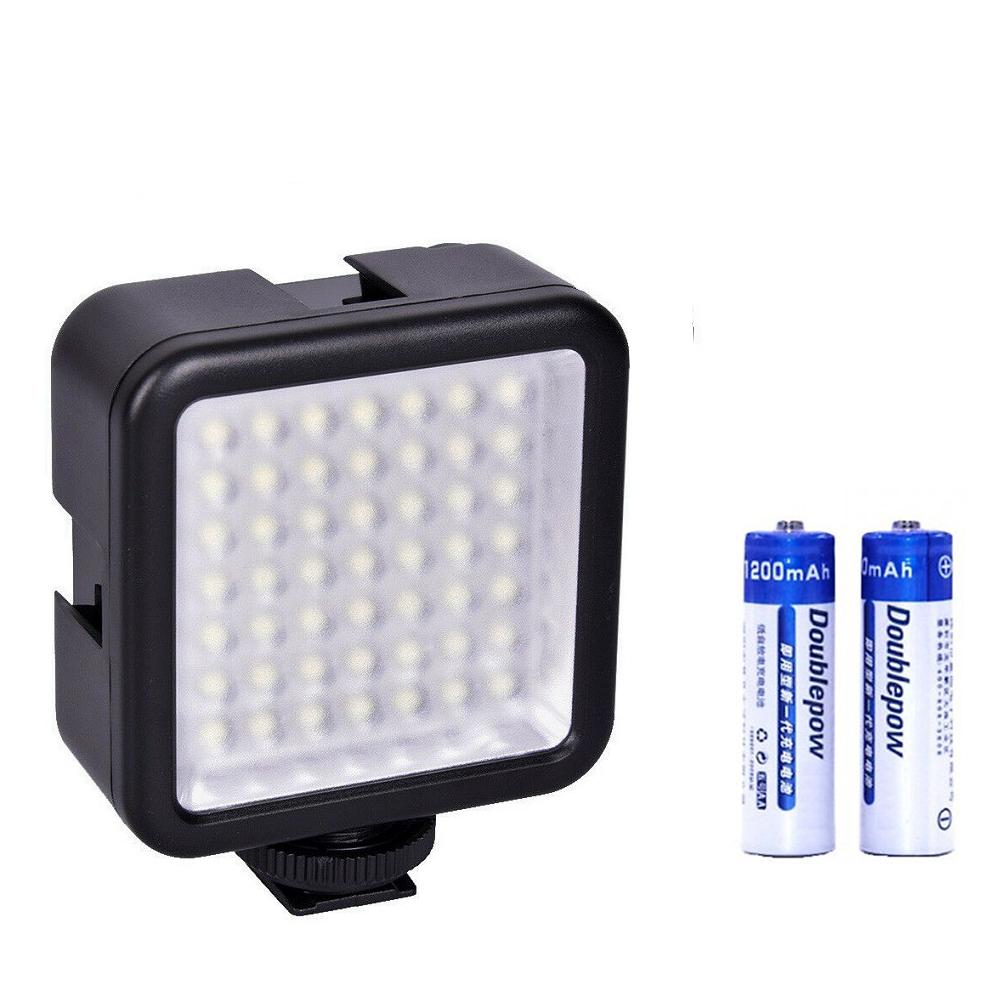 Đèn 49 LED Trợ Sáng Chụp Ảnh, Quay Phim Cho Máy Ảnh, Điện Thoại Tặng Kèm 2 Viên Pin Sạc AA 1200 mAh