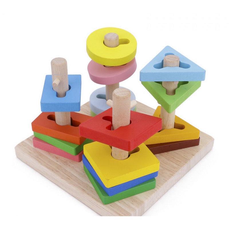 Đồ chơi gỗ cao cấp - Thả hình 3D đế vuông 4 trụ Nemotoys