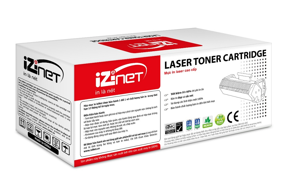 Mực in laser màu vàng iziNet CC532A/CE412A/ 318Y/418Y Universal (Hàng chính hãng)