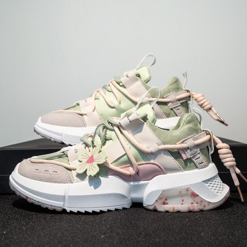 Giày nữ sneaker, giày nữ thể thao thời trang họa tiết hoa anh đào siêu đẹp (màu ngẫu nhiên)