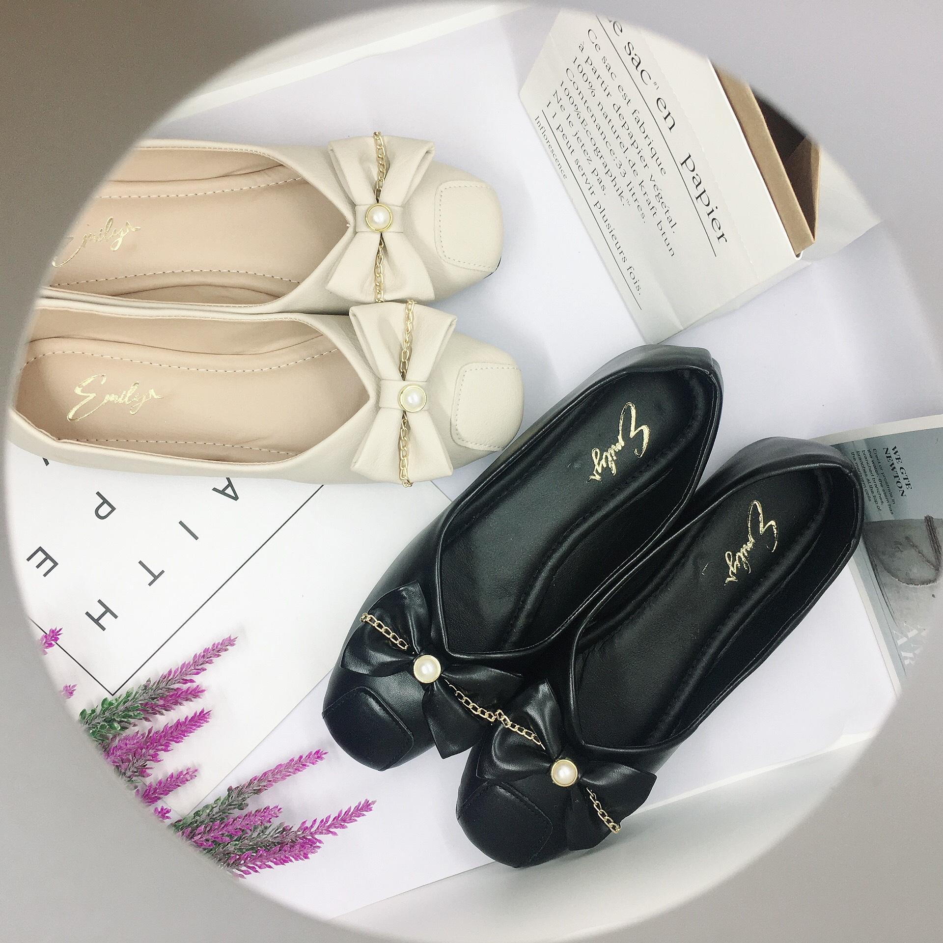 Giày bệt búp bê nữ đính nơ xinh xắn da mềm êm chân - B19