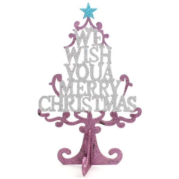 Cây Giáng Sinh Gỗ Để Bàn 35cm - Mẫu 2 - Màu Hồng