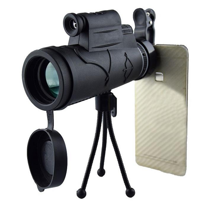 Ống nhòm 12x50 dùng cho điện thoại thông minh có giá đứng cao cấp ( Tặng kèm la bàn mini chỉ hướng bằng thép không gỉ )