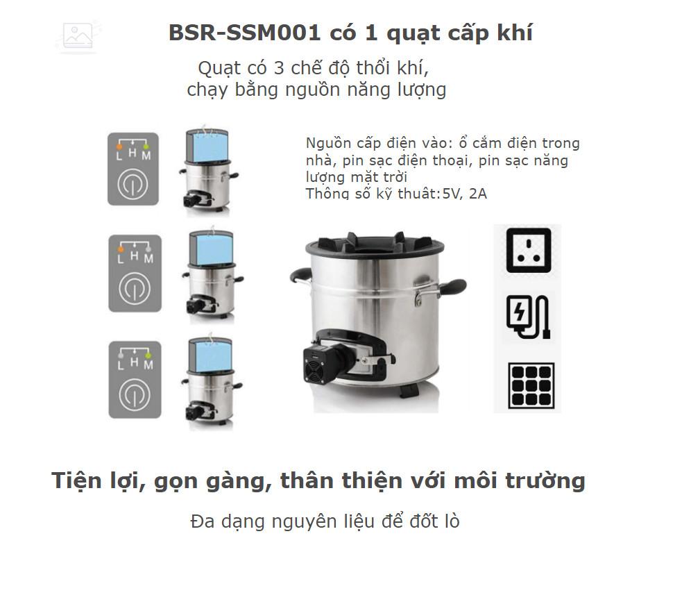 Bếp đun nướng bằng viên nén, than củi, có quạt sạc BSR-SSM001 Có bộ nướng BBQ (bán kèm nếu mua thêm)