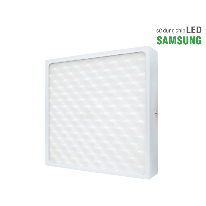 Đèn ốp trần vuông ELT8003S siêu mỏng mặt 3D viền nhôm, sử dụng tấm tán xạ ánh sáng giảm độ chói