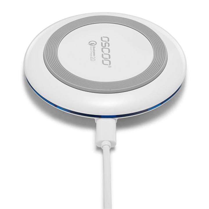 Sạc không dây QI Oscoo Quick charger 2.0 WH-001 (Trắng) - Hàng chính hãng