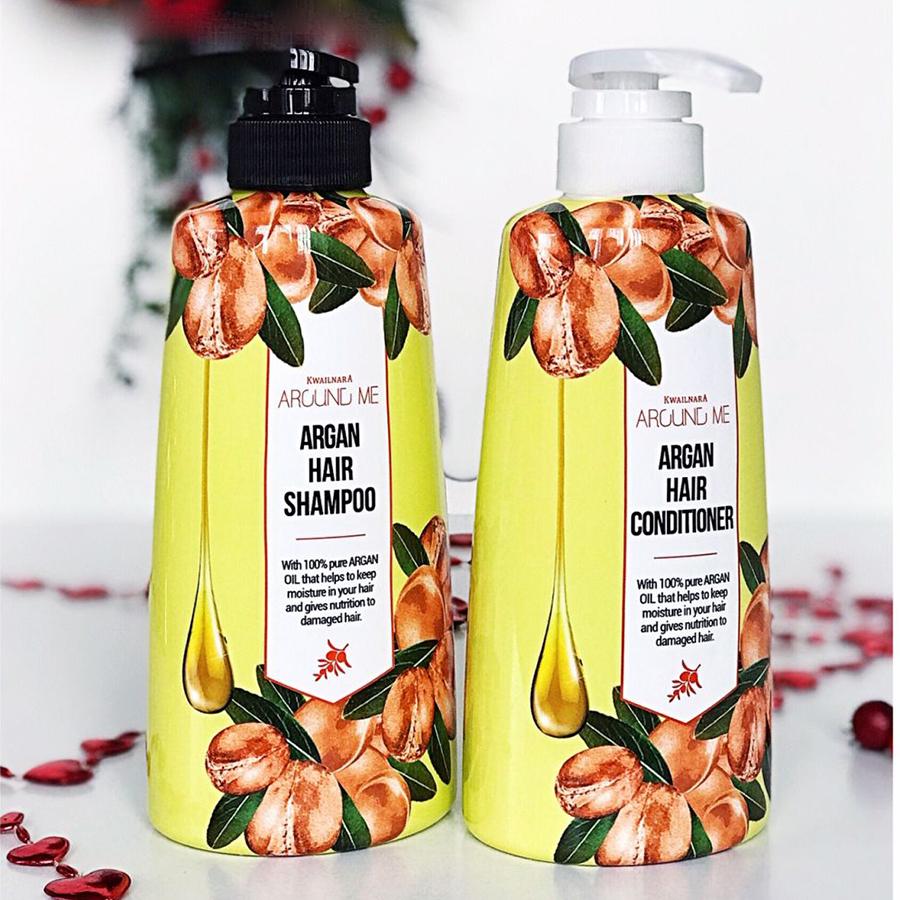 Cặp dầu gội - dầu xả thảo dược Around Me Argan Hair Hàn Quốc 500ml + Móc khóa
