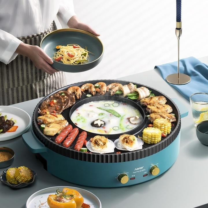 Bếp nẩu nướng đa năng 2 trong 1 cao cấp Aoran GP-014A Công suất : 2200W - HÀNG CHÍNH HÃNG