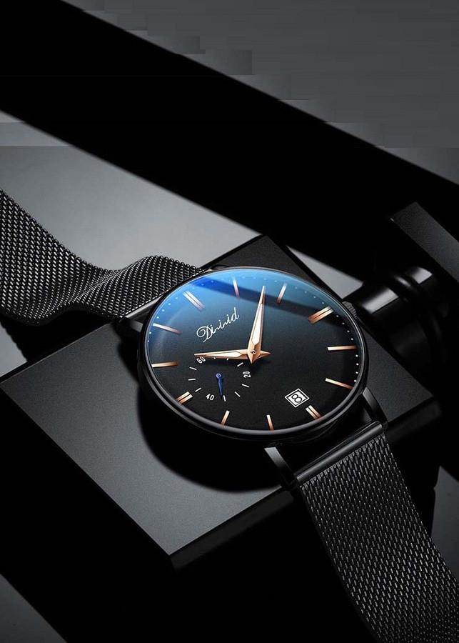 Đồng hồ nam DIZIZID dây thép lụa đen mẫu NEW chạy lịch ngày cao cấp DZ2KN