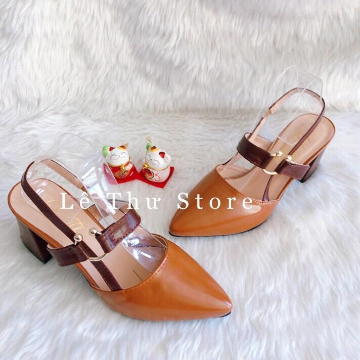 Giày cao gót 6 phân bít mũi khóa C hở gót LT (BM011)