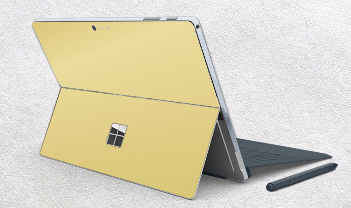 Skin dán hình Aluminum Chrome vàng gold cho Surface Go, Pro 2, Pro 3, Pro 4, Pro 5, Pro 6, Pro 7, Pro X