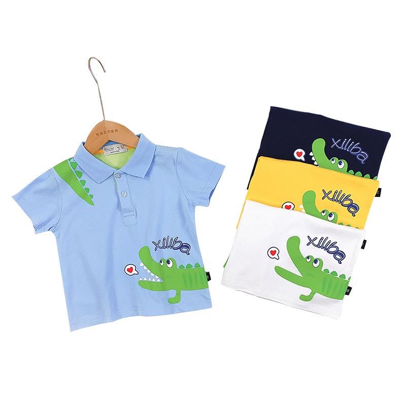 Áo thun bé trai in cá sấu xanh nhiều màu: trắng, vàng, xanh, than chất cotton mềm mát