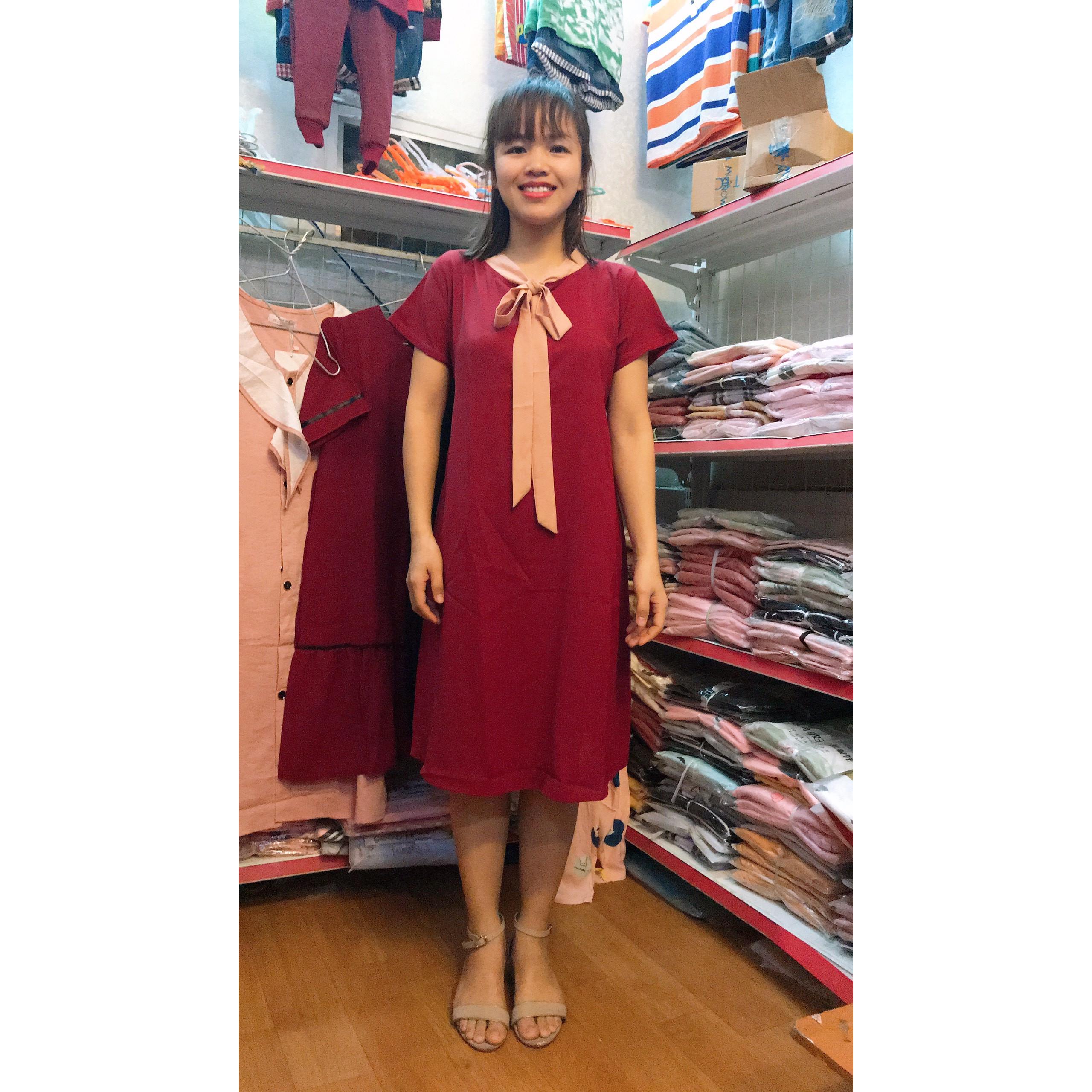 Đầm bầu, Váy bầu công sở chất đũi đơn giản dễ mặc hàng Việt Nam [FREE SIZE < 65kg]