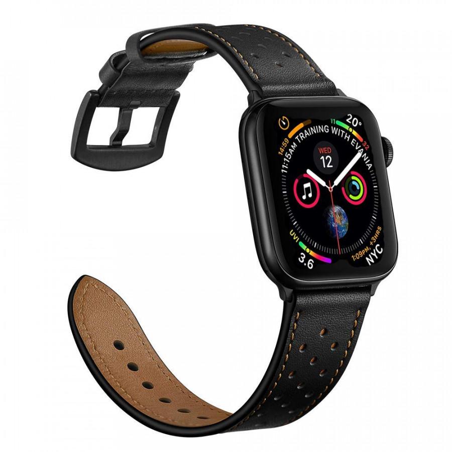 Dây đồng hồ Apple Watch, dây da 09 chấm bi khóa thép không gỉ cho đồng hồ Apple Watch