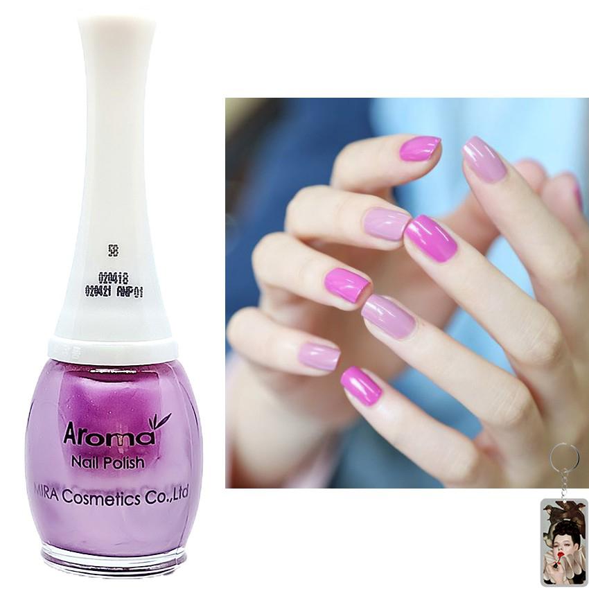 Sơn móng tay Aroma Nail Polish Hàn Quốc 12ml #58 tím hồng tặng kèm móc khóa