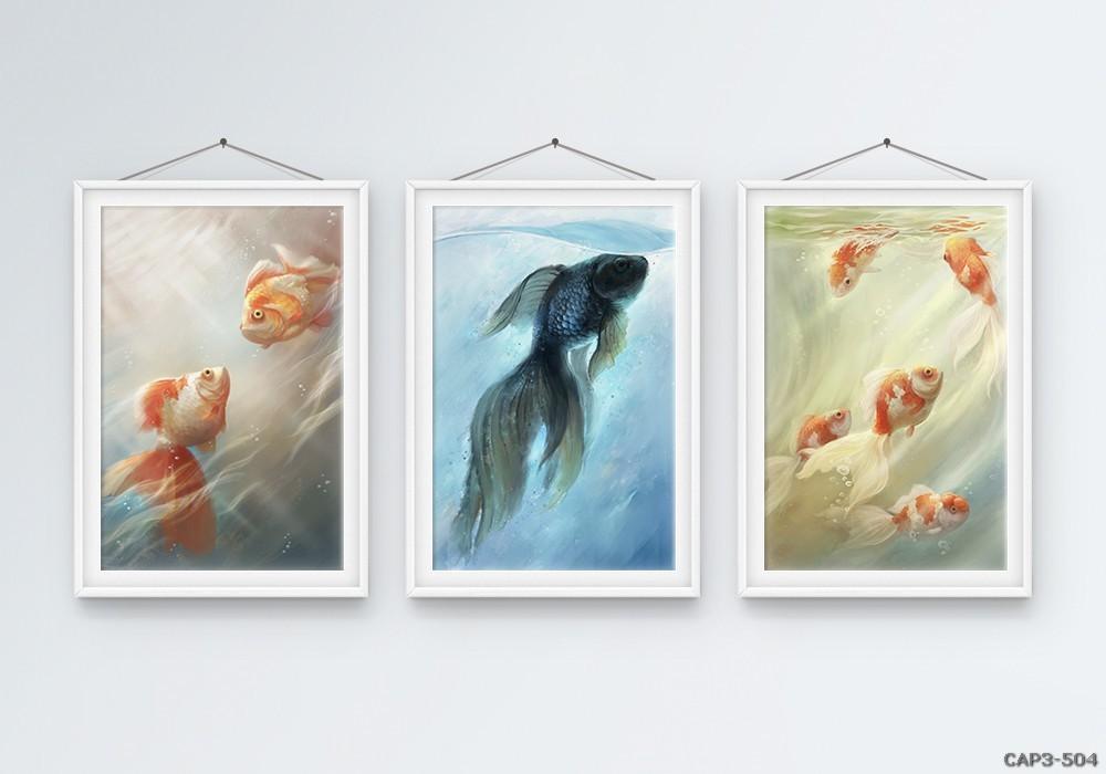 Tranh bộ động vật-tranh vẽ-Bộ 3 khung 50*70