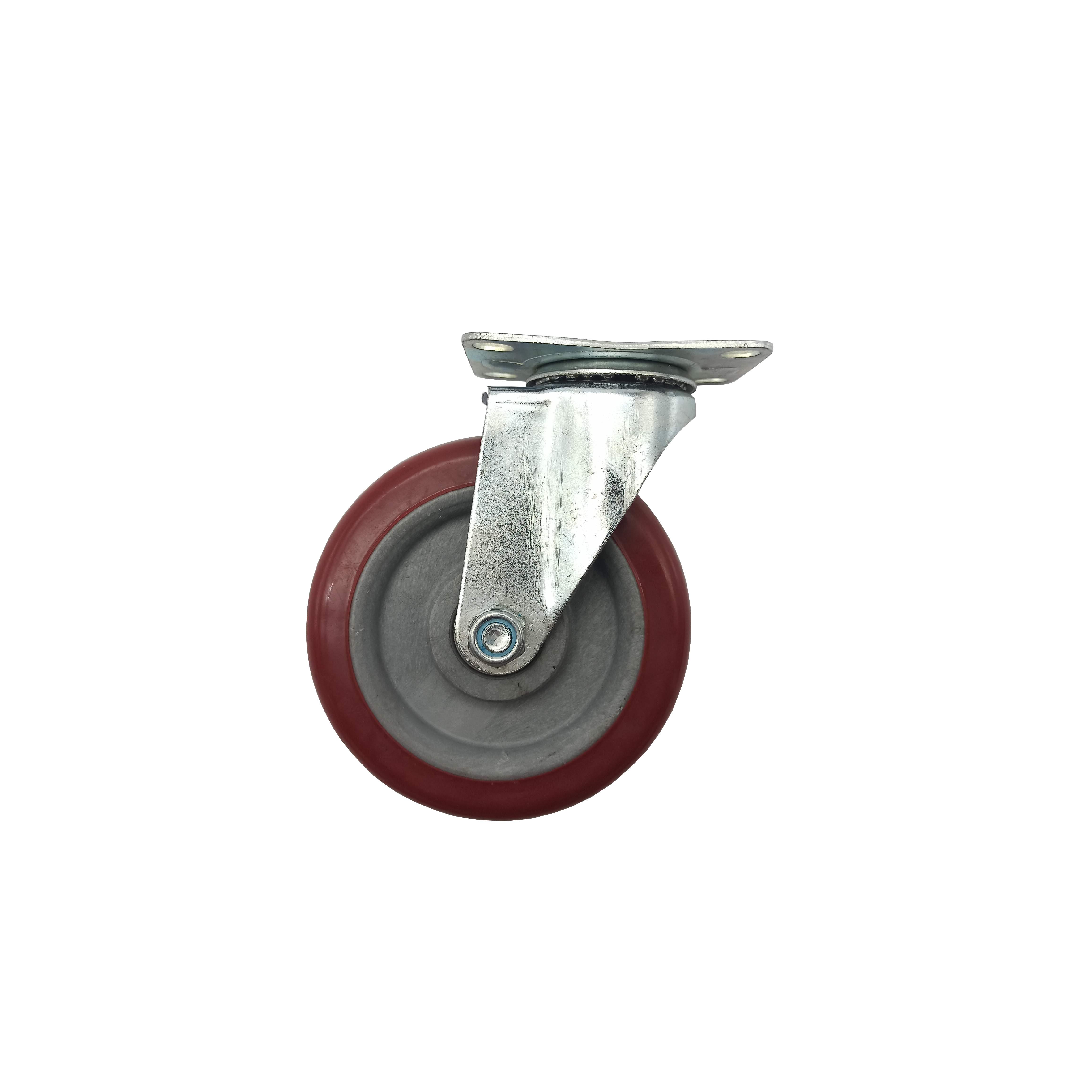 Bánh xe đẩy mặt đế xoay càng sắt mạ kền tải trọng 65kg lốp nhựa TPR đỏ mận rộng 32mm Φ120mm