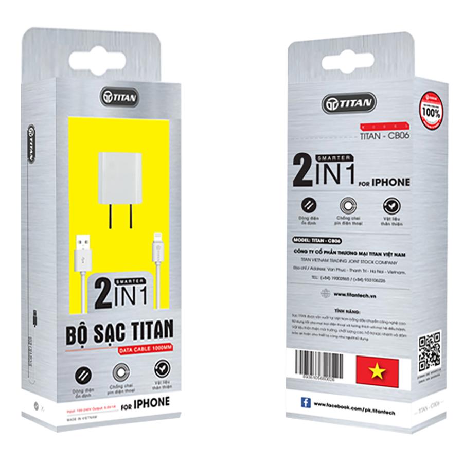 Bộ cốc và cáp sạc nhanh cho IPhone, IPad TITAN CB06 - Hàng chính hãng