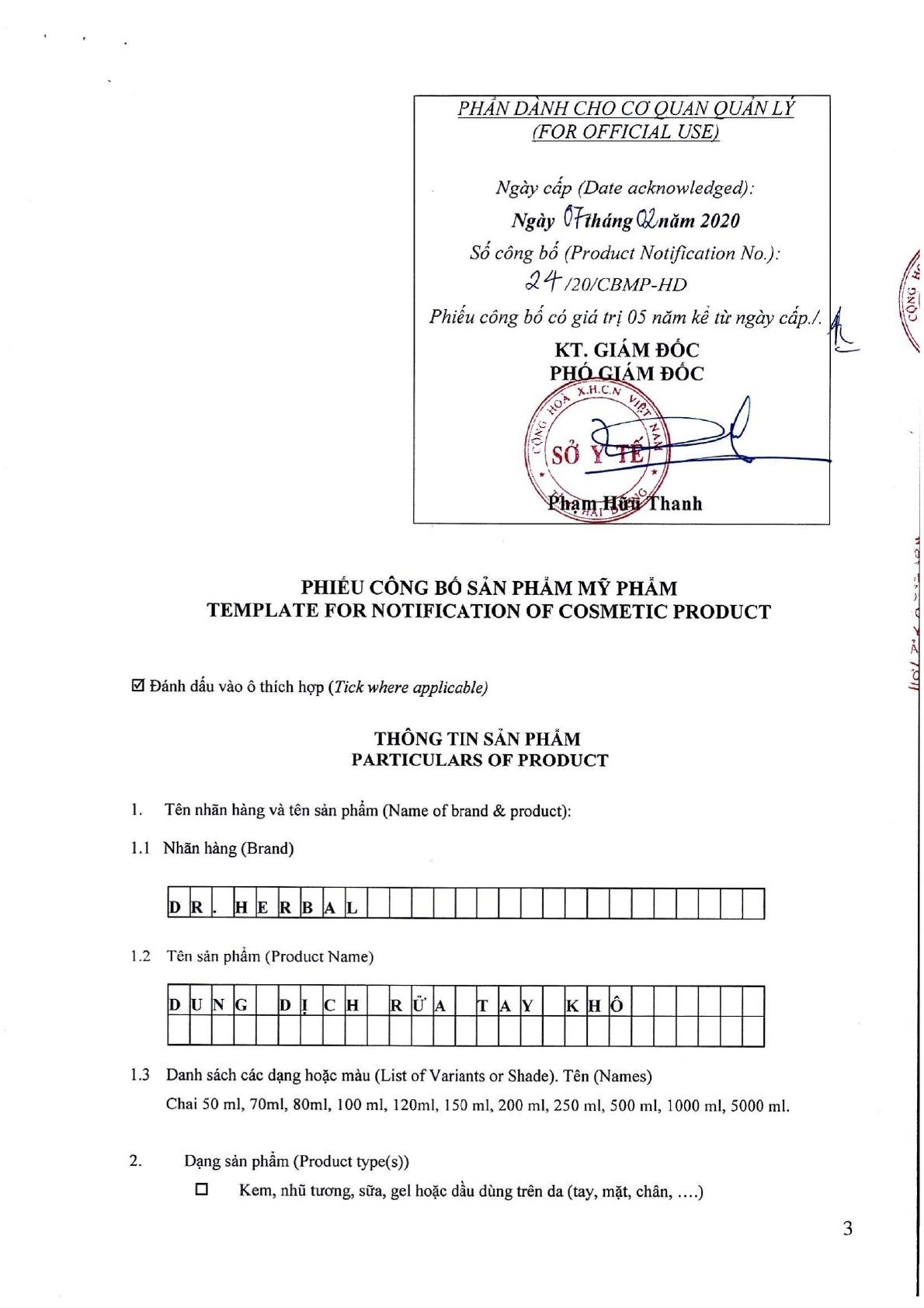 COMBO 2 CHAI 100ML - DUNG DỊCH RỬA TAY KHÔ  DR. HERBAL