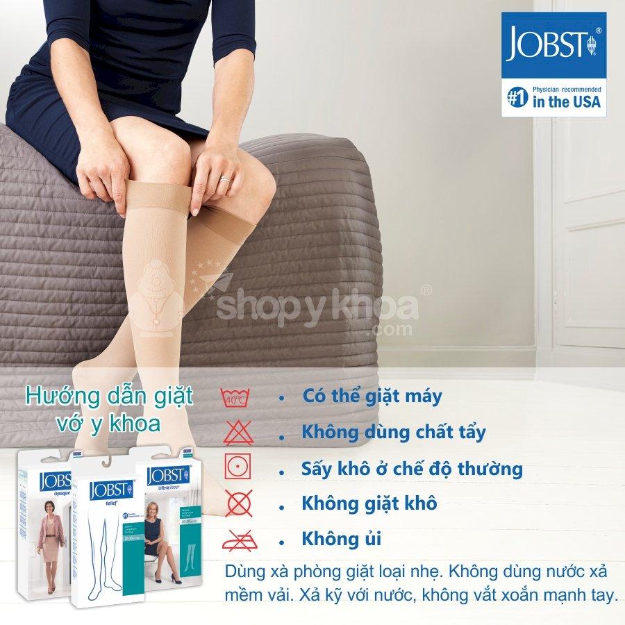 Vớ y khoa đùi Hỗ Trợ Điều Trị suy giãn tĩnh mạch chân JOBST Relief chuẩn áp lực 20-30mmHg - Da (tất y khoa)