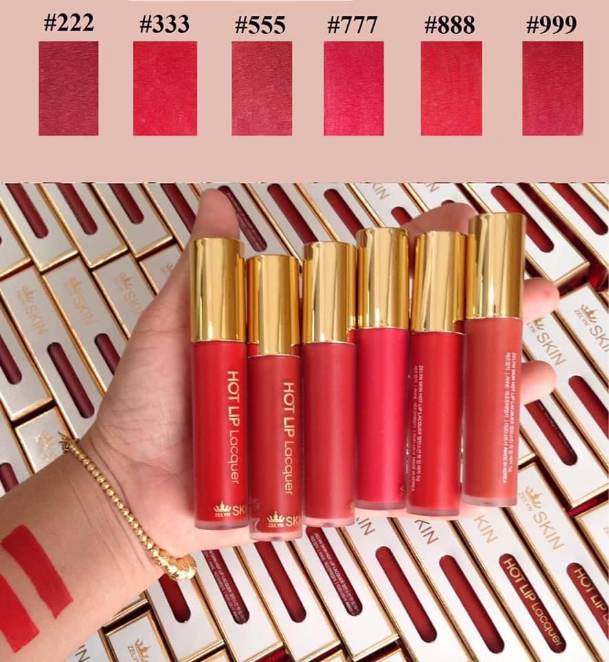 Son Kem Lì Hàn Quốc Hot Lip Lacquer Zelyn Skin ( 222- đỏ nâu )