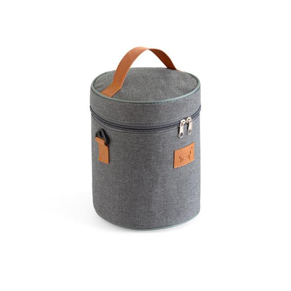 Túi đựng cơm hình học pha khối mầu ghi xám