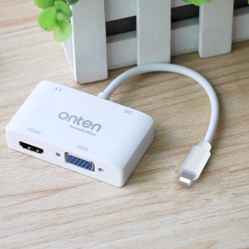 Cáp xuất hình ảnh, video HDMI/VGA chất lượng cao từ đầu Lightning sang TV Aturos Onten OTN-7585 - Hàng nhập khẩu