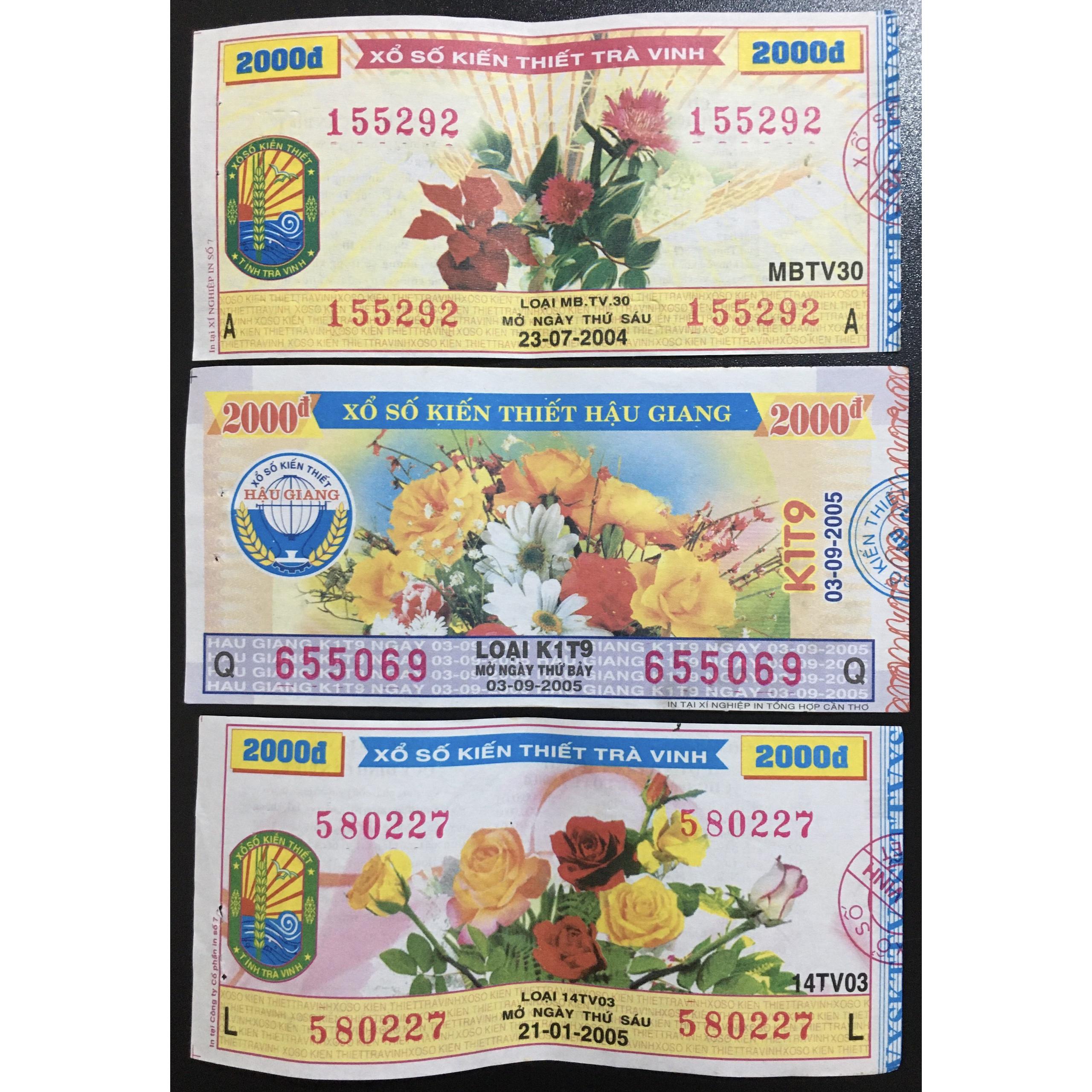 Vé Số Xưa Việt Nam 2000đ Hình Hoa Năm 2004-2005 Các Tỉnh [Vé Số Xưa Sưu Tầm]