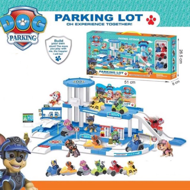 Bộ đồ chơi lắp ráp đường trượt và đội đua xe chó cứu hộ - Bãi đỗ xe chó cứu hộ (mẫu ngẫu nhiên)