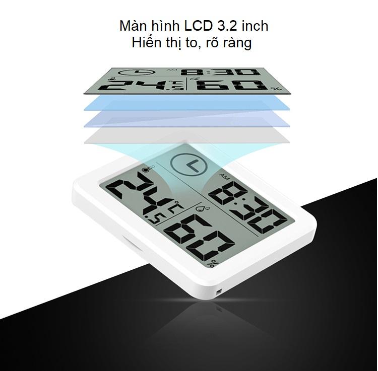 Đồng hồ đo nhiệt độ, độ ẩm màn hình LCD ( Sử dụng trong phòng ngủ, phòng làm việc, xe hơi, văn phòng ....  )