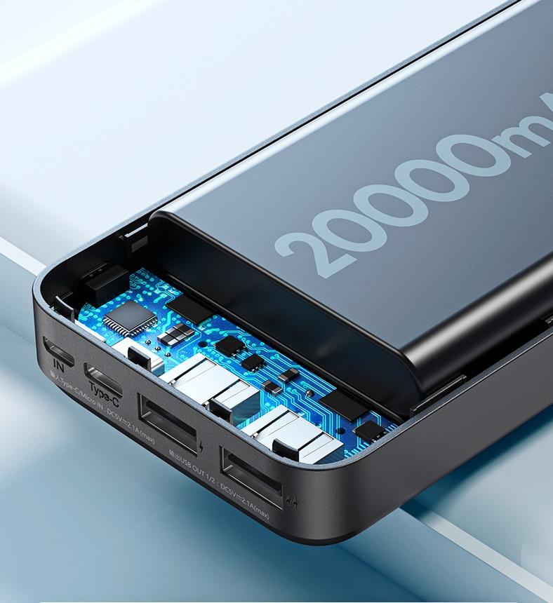 Pin sạc dự phòng Remax RPP-166 20000mAh Lango, 2 cổng input / output (Hàng chính hãng)