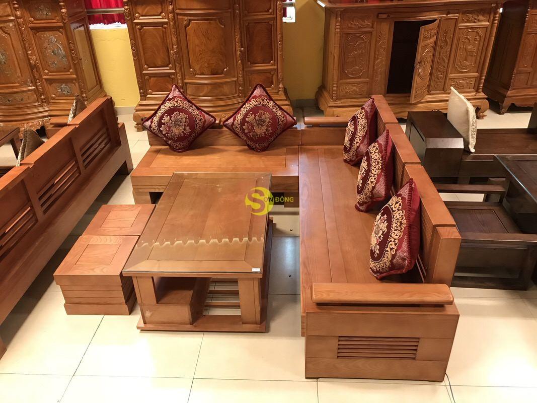 Bộ sofa góc tay trơn thanh lịch gỗ sồi Nga