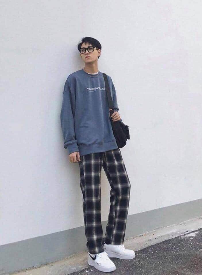 quần caro ống rộng dành cho nam