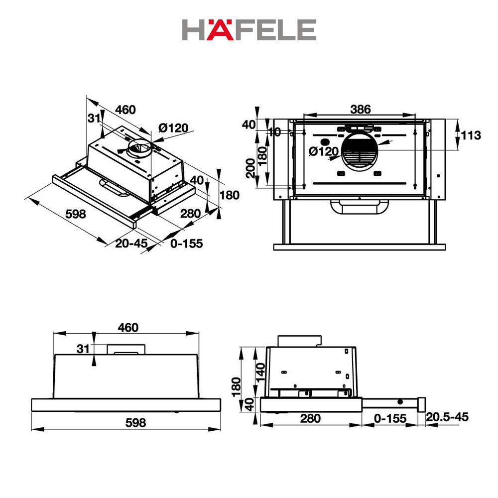 Máy Hút Mùi Âm Tủ Hafele HH-TI60D HH-TI60D (60cm) - 539.81.083 Xuất Xứ Châu Âu Kèm Than Hoạt Tính (Hàng chính hãng)