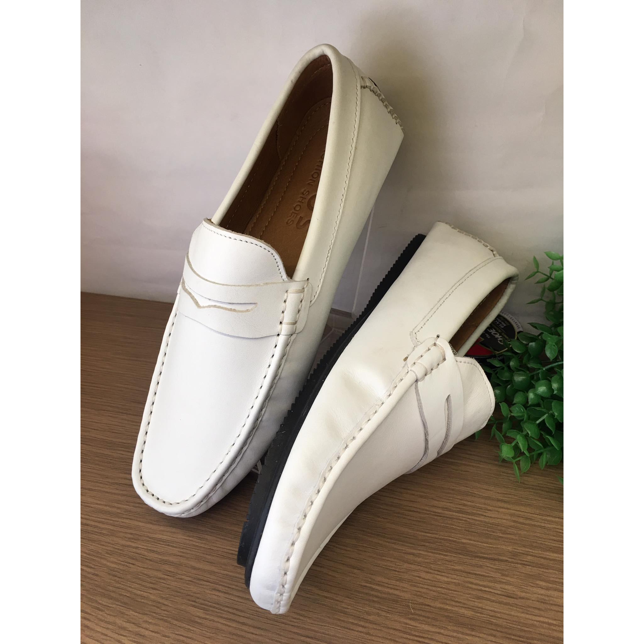 Giày mọi giày lười nam da bò 100% màu trắng-T040