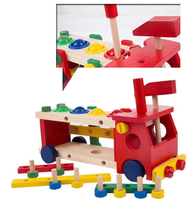 Đồ chơi gỗ - Xe lắp ráp đập bóng lớn