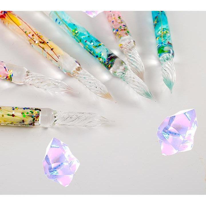 (Ngẫu nhiên) Bộ bút thủy tinh ruột hoa khô kèm mực dùng luyện viết tiếng Trung tặng ảnh VCone
