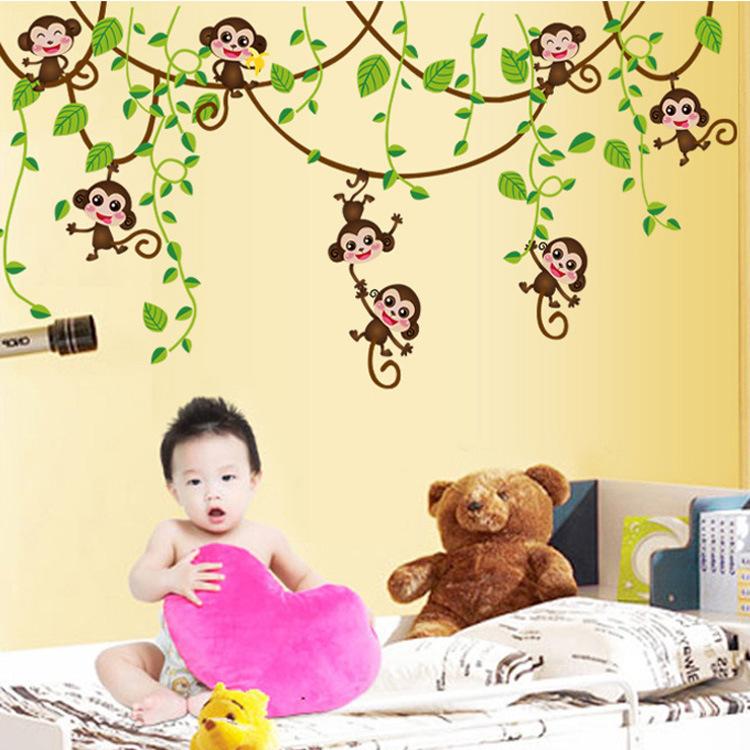 Decal dán tường khỉ đùa nghịch trên dàn dây leo cho bé AY7247