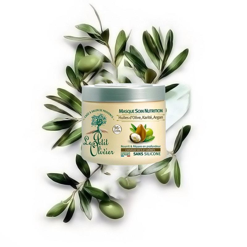 Kem ủ tóc phục hồi tóc hư tổn chiết xuất Dầu Argan, Bơ Hạt Mỡ, Dầu Olive Le petit Olivier 330ml